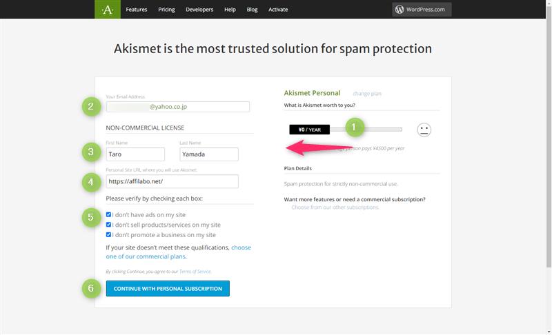 Akismet登録情報の入力