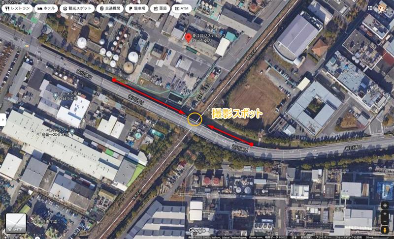 日永跨線橋(工場夜景)アクセスと駐車場