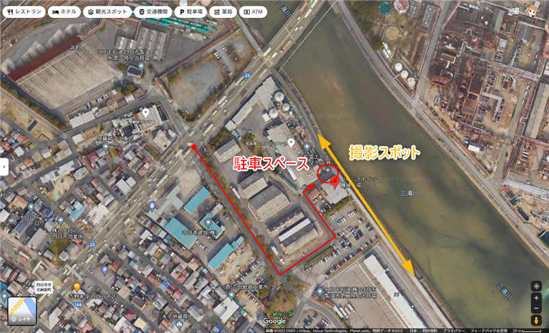大正橋(工場夜景)アクセスと駐車場