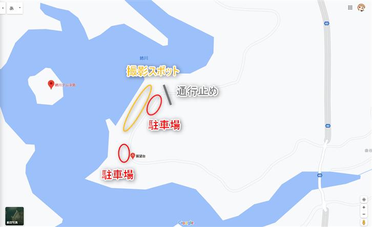 姉川ダム浮島 駐車場地図
