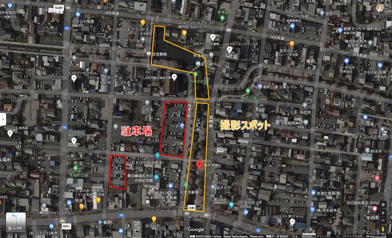 水門川(夜桜)撮影スポット