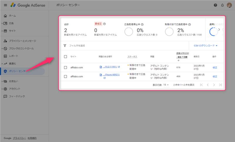 Google AdSense管理画面のポリシーセンター